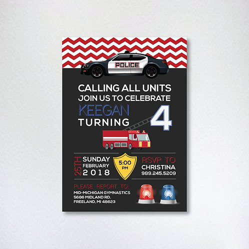 Police & Firefighter Birthday Invitation (Set of 25)