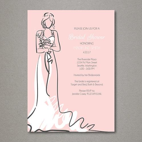 Soft Pink Bridal Shower Invitation (Set of 25)