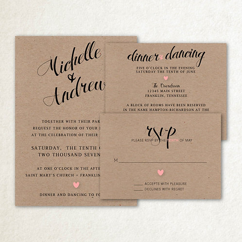 Kraft Script Invitation Set (Set of 25)