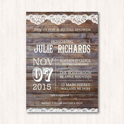 Barnyard Lace Shower Invitation (Set of 25)