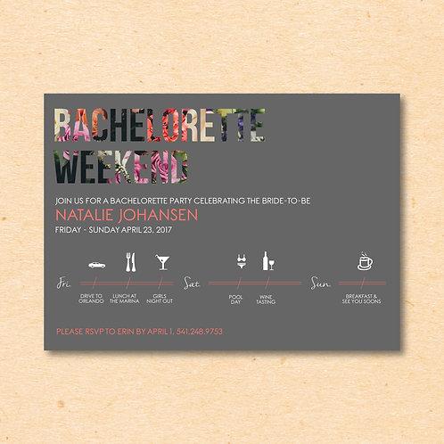 Weekend Itinerary Bachelorette (Set of 25)