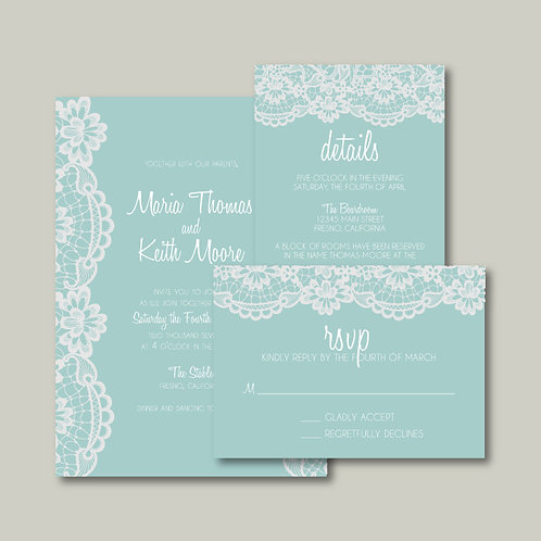 Tiffany Lace Invitation Set (Set of 25)