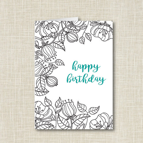 Floral Sketch Birthday Card (Set of 25)