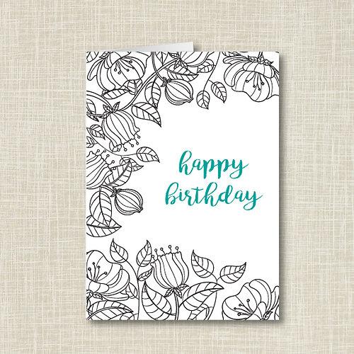 Floral Sketch Birthday Card Set Of 25
