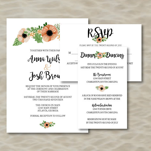 Floral Vine Invitation Set (Set of 25)