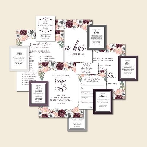 Bridal Shower Signage Set (8 Pieces)