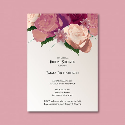 Rose Floral Shower Invitation (Set of 25)