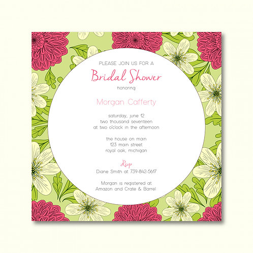 Green & Pink Floral Shower Invitation (Set of 25)