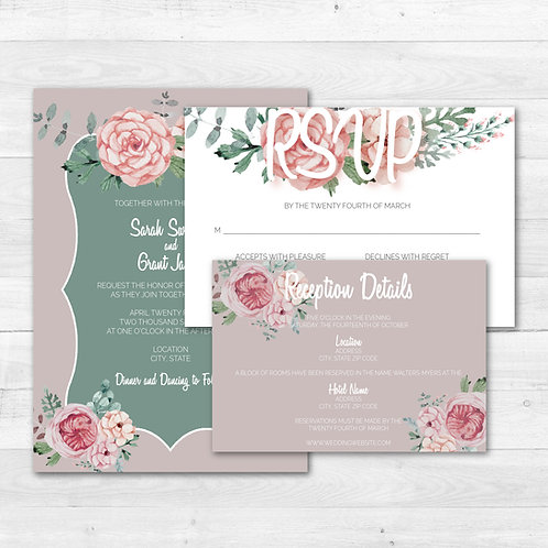 Warm Gray Floral Invitation Set (Set of 25)