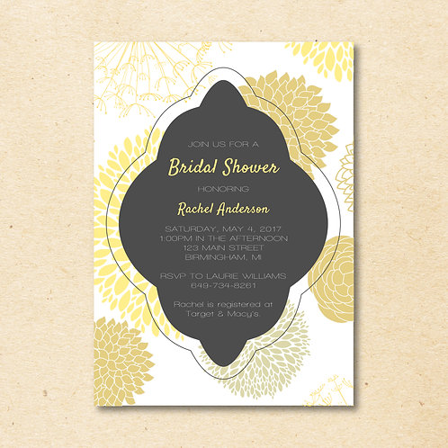 Gray & Yellow Bridal Shower Invitation (Set of 25)