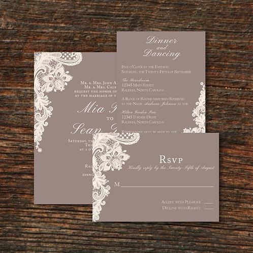 Ivory Lace Invitation Set (Set of 25)