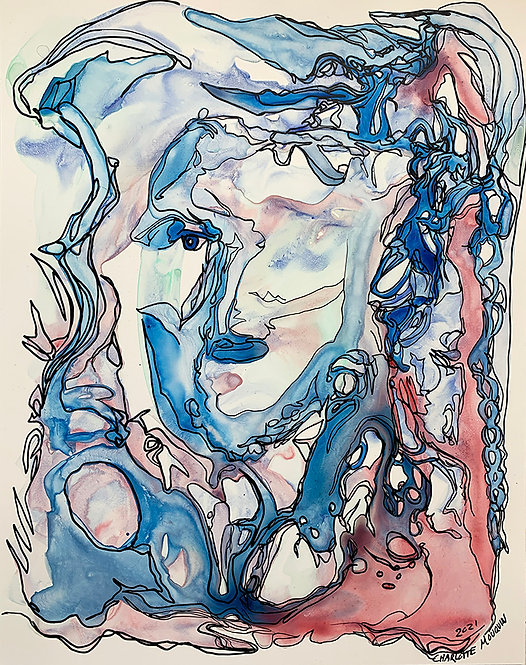 Original Ink Drawing - Blue and Red Portrait 1, 2021 - 11x14 ink on Yupo
