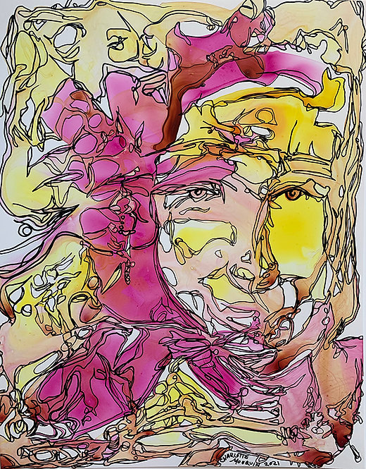 Original Ink Drawing - Yellow and Red Portrait 1, 2021 - 11x14 ink on Yupo