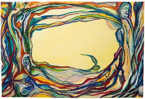 "Original Watercolor ""Wear Your Branches"" 3, 18 x 24"" circa 2015"