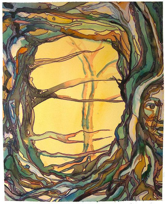 "Original Watercolor ""Wear Your Branches"" 5, 18 x 24"" circa 2016"