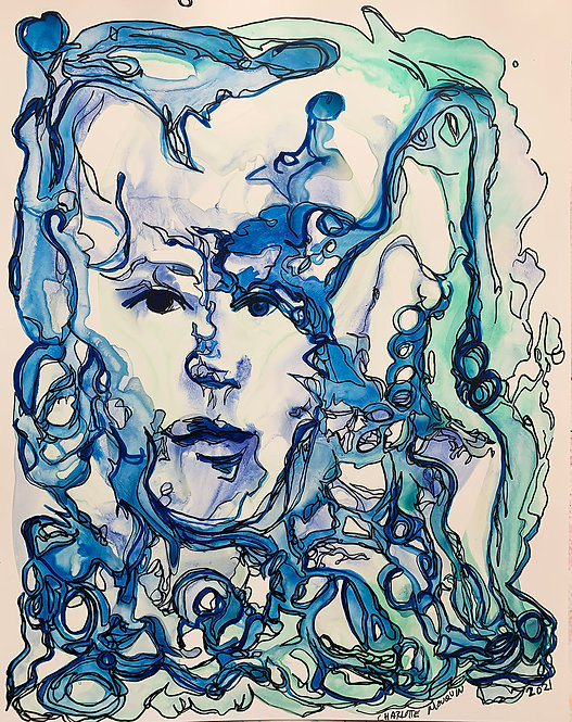 Original Ink Drawing - Blue Portrait 2, 2021 - 11x14 ink on Yupo