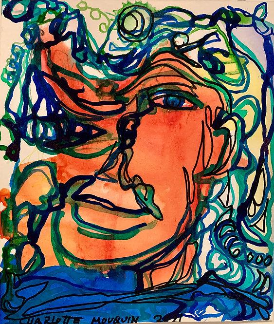 """Original Ink Drawing - 2021 - Orange Face - 5x6"""""""