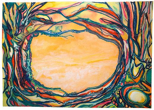"Original Watercolor ""Wear Your Branches"" 2, 18 x 24"" circa 2015"