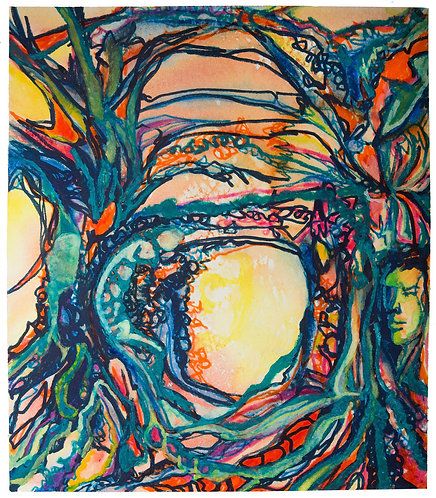 "Original Watercolor ""Wear Your Branches"" 4, 18 x 24"" circa 2015"