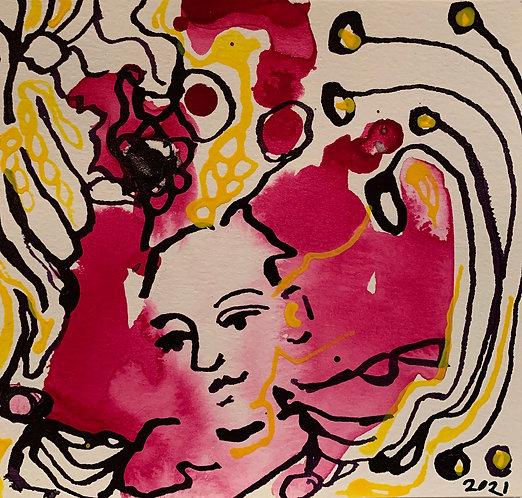 "Original Ink Drawing - 2021 - Pink Face - 5x6"""