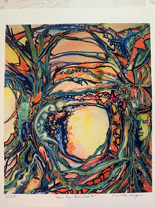 """Hand Embellished Print Edition """"Wear Your Branches 4"""" 11x14"""" 2020"""