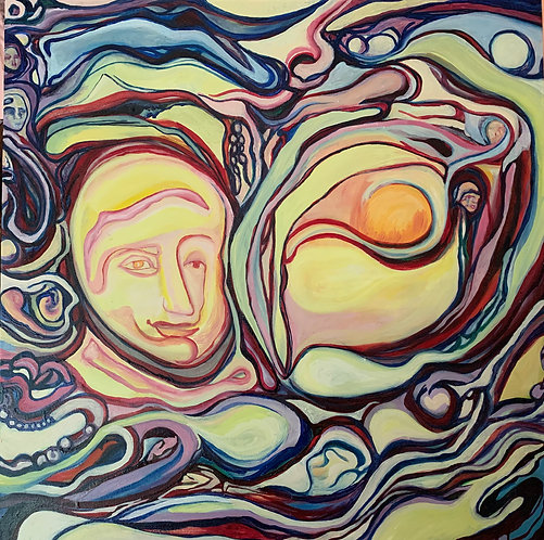 """Original Painting """"Together 1"""" Oil on Canvas 36x36"""""""