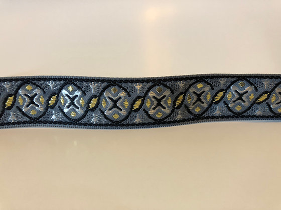 Jacquard Silver Black and Gold