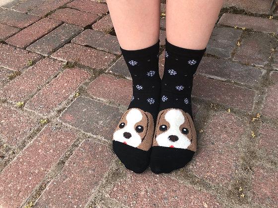Black Beagle Socks with Snowflakes