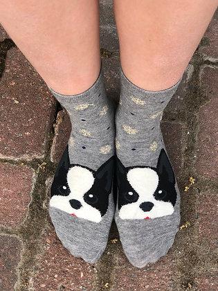 Grey Boston Terrier Socks with Snowflakes