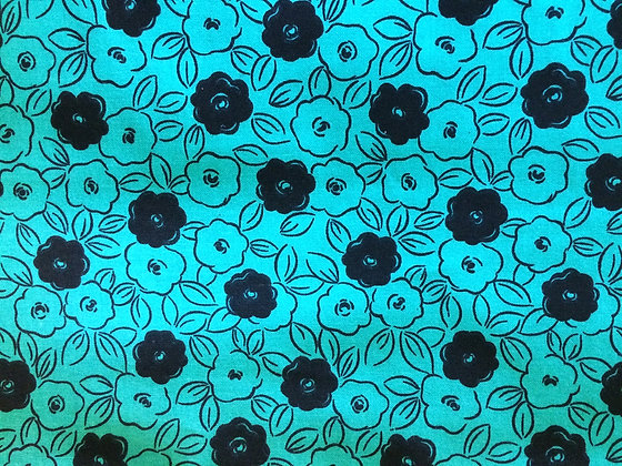 Black Flowers on Green