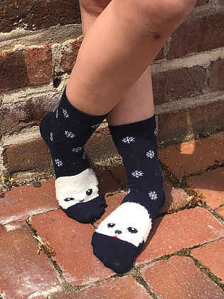 Blue Pomeranian Socks with Snowflakes
