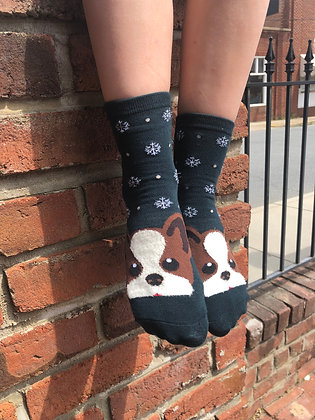 Green Pug Socks with Snowflakes