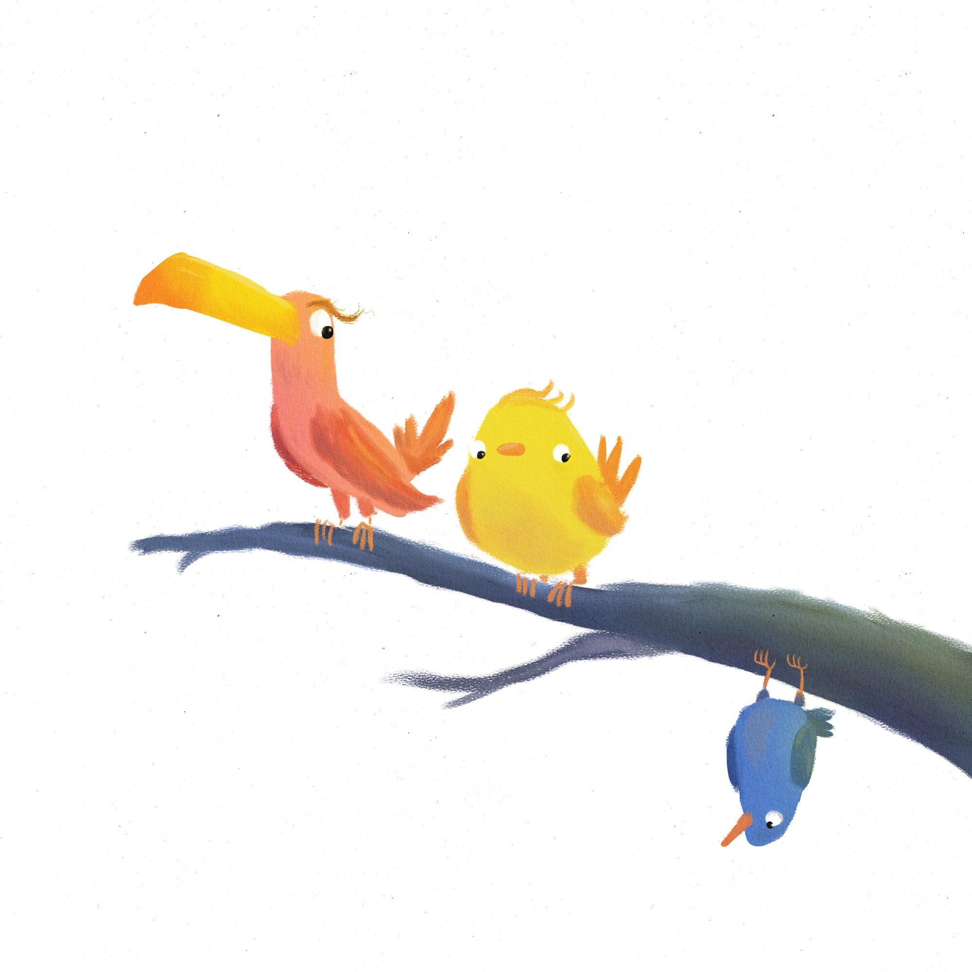 quirky birds illustration