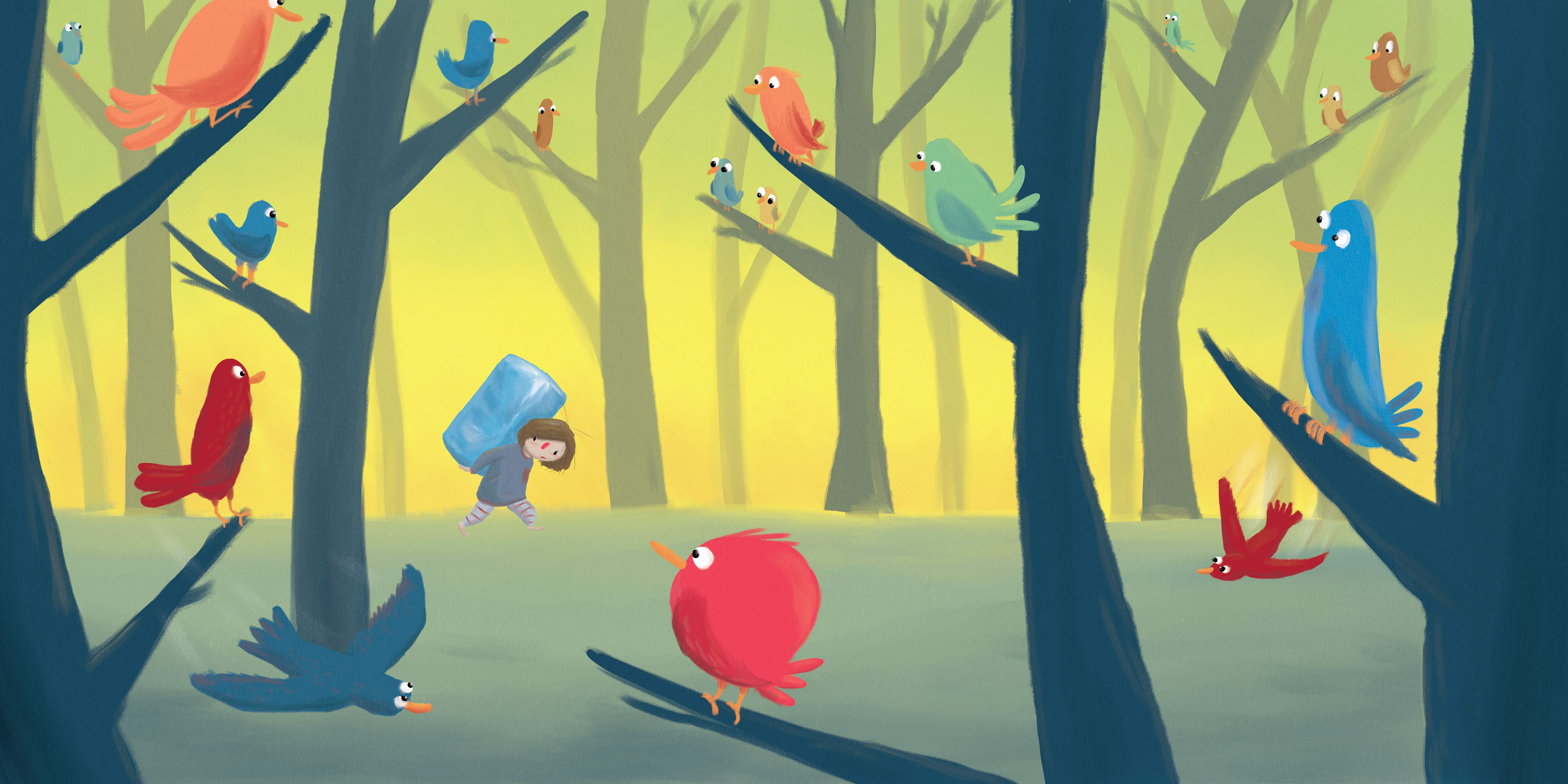 birds scene silend book