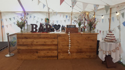 Decorated Rustic Wood Wedding Bar