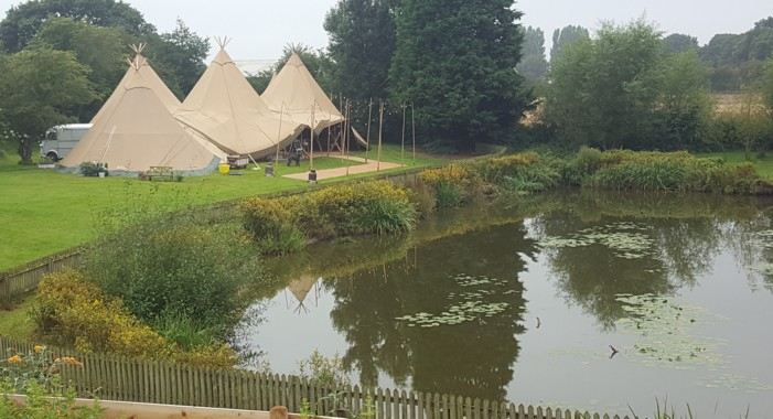 Tipis Wedding by a lake in Cheshire