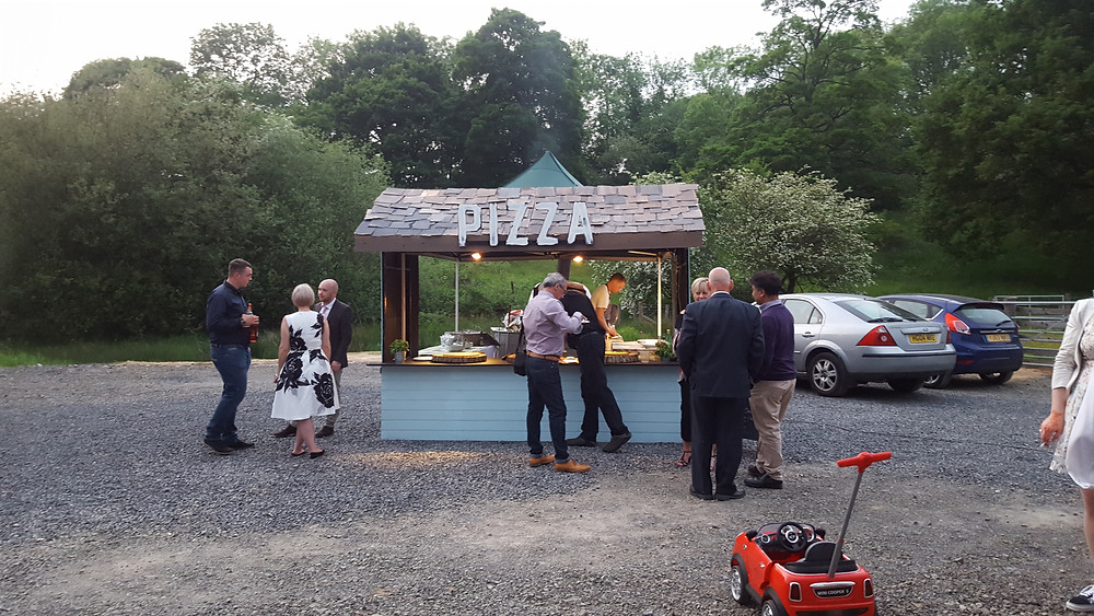 Outside Catering hut built for pizza