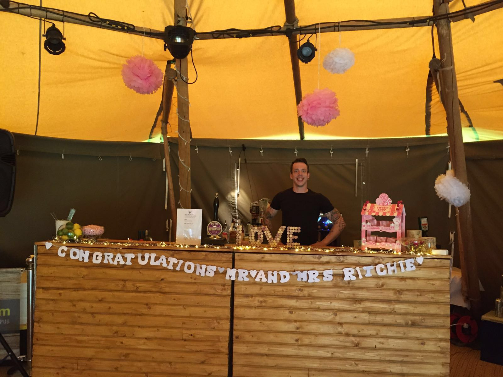 Folding wood tipi bar in Lancashire