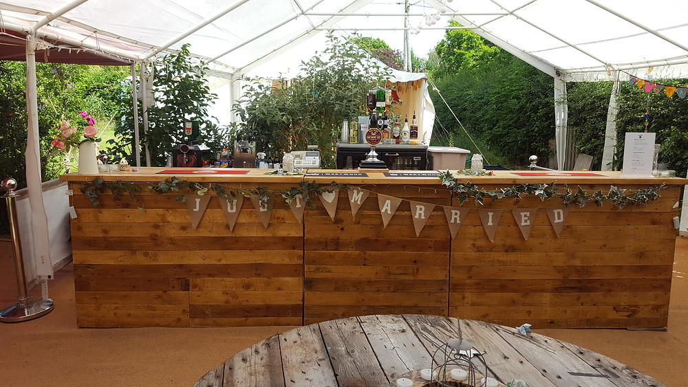 Rustic wedding Bar with bunting