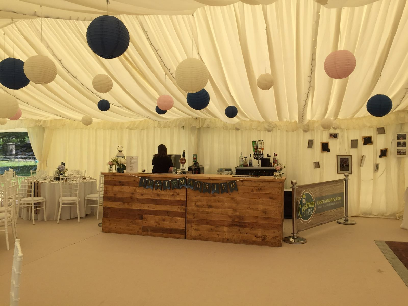 Rustic Wood Bar in Marquee