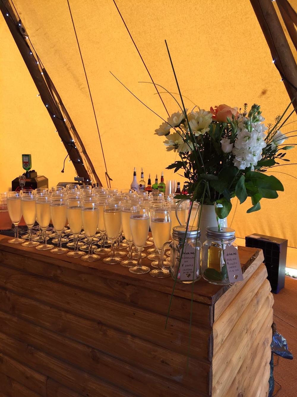 Wooden rustic wedding bar