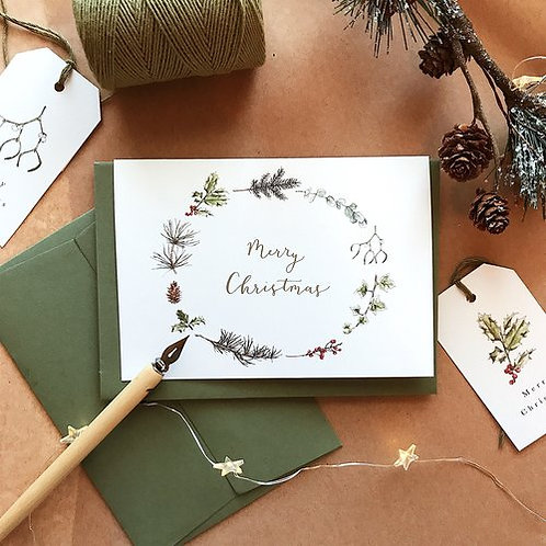 Festive Foliage Wreath Card