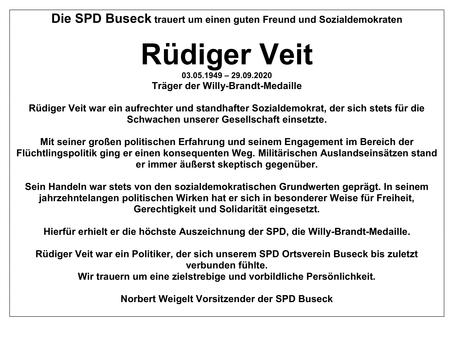 Wir trauern um Rüdiger Veit