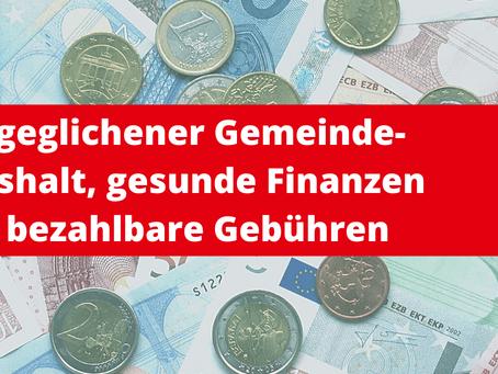 Ausgeglichener Gemeindehaushalt, gesunde Finanzen & bezahlbare Gebühren