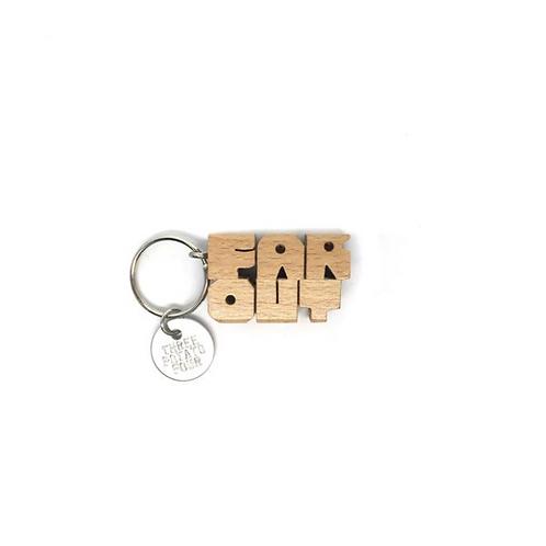 """Porte clés en bois """"Far Out"""""""