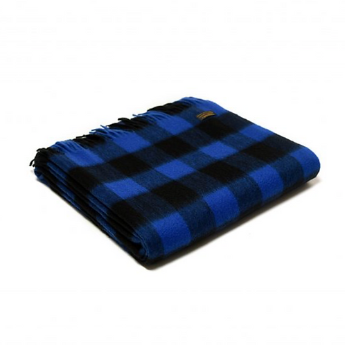 Plaid Lambswool Chequered Board Royal Blue