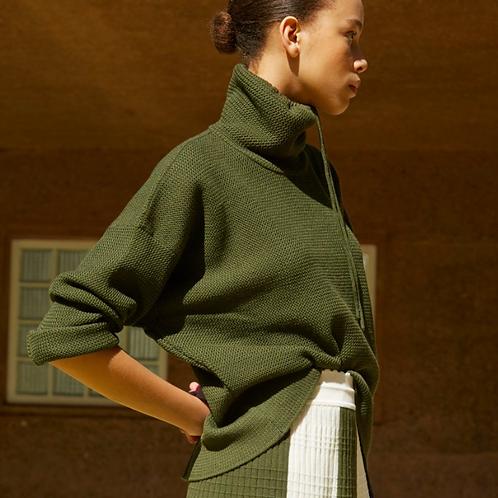 Sweater à col montant kaki Molli