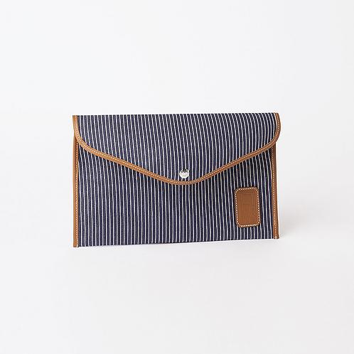 Enveloppe M Fine Stripes - Navy Rue De Verneuil