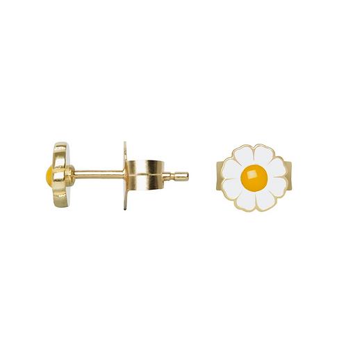 Boucle d'oreille gold vermeil 18 kt marguerite Wilhelmina Garcia