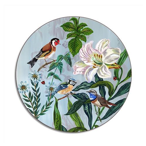 """Dessous de Plat rond """"Garden birds"""""""